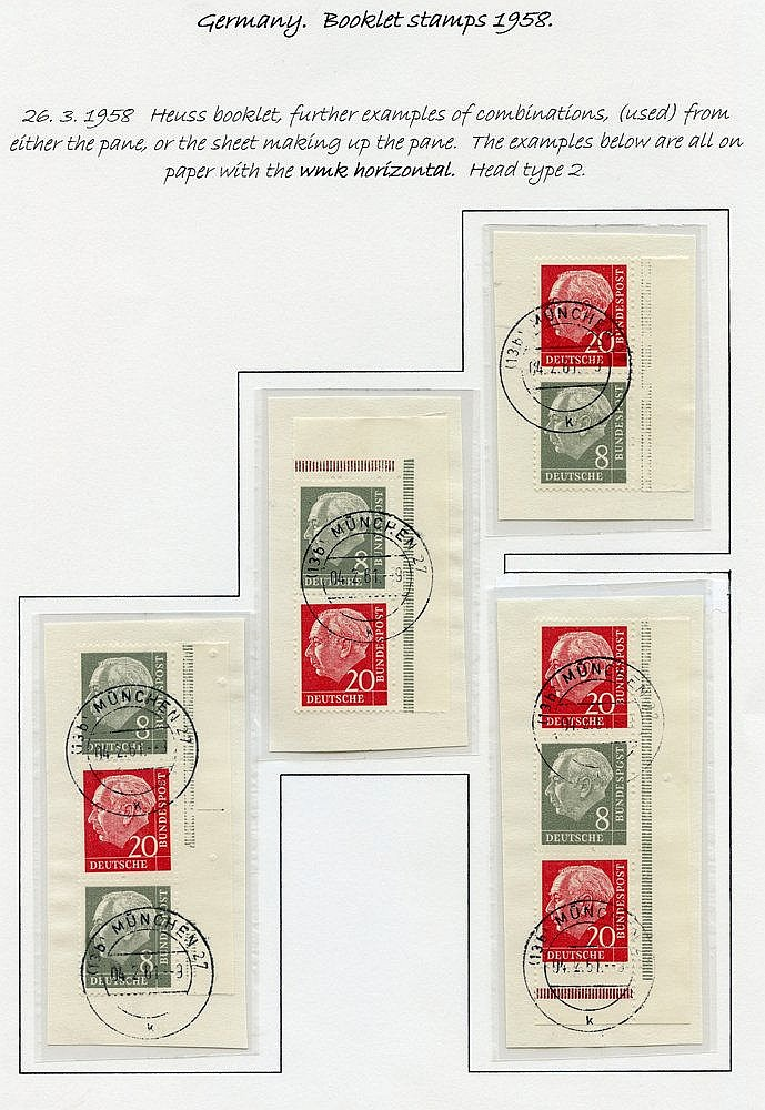 1958 President Heuss/Numeral booklet stamps - the 1dm booklet (Mi