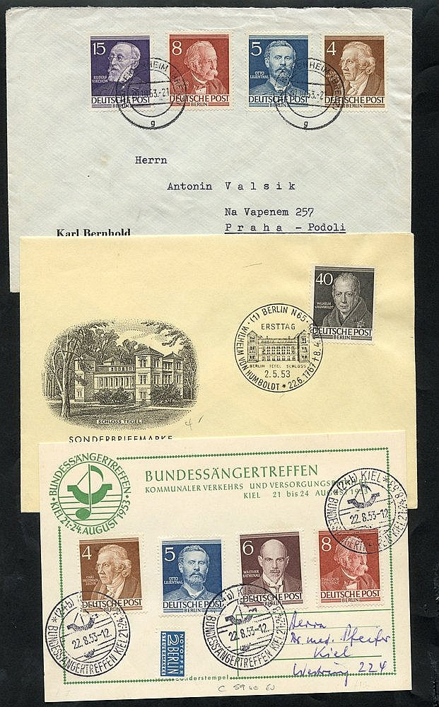 1952-53 Famous Berliners 10pf, 20pf, 40pf Mi.95, 97, 100, each on