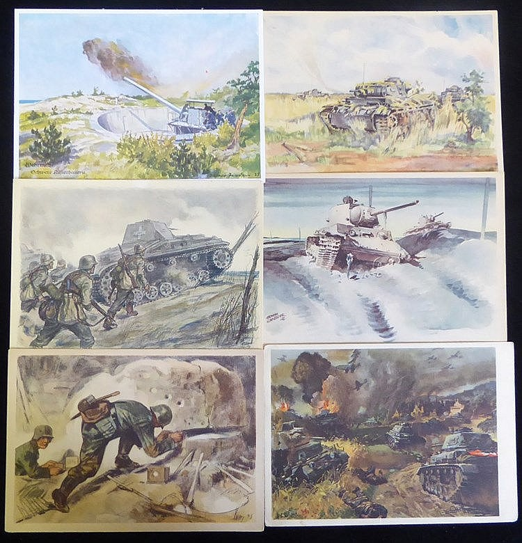 Third Reich military propaganda PPC's with scenes of military act