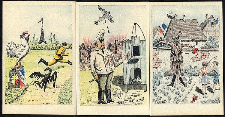 WWII ANTI AXIS POLITICAL SATIRE cards (11) unused with title on r