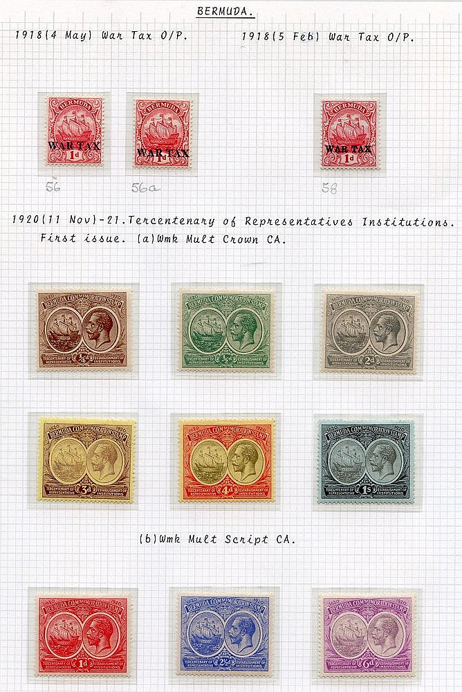 1918 War Tax 1d (3), 1920 & 1921 Tercentenary sets, fine M, SG.56