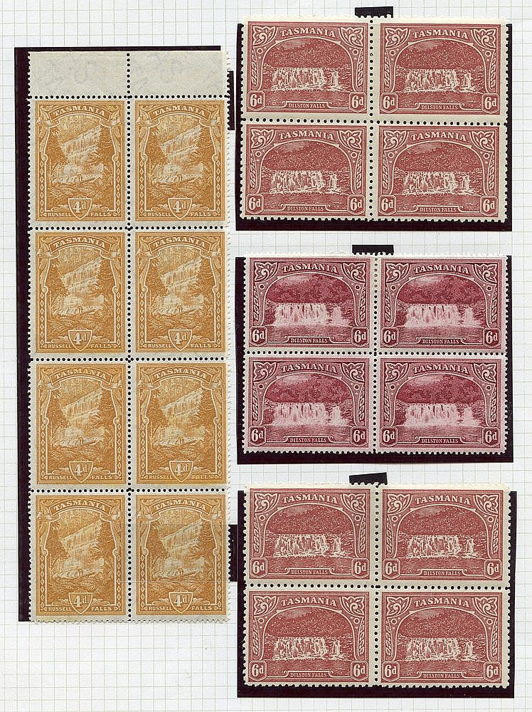 1899-1900 Pictorials TAS wmk 1d (blocks of twelve & eight), 3d (b