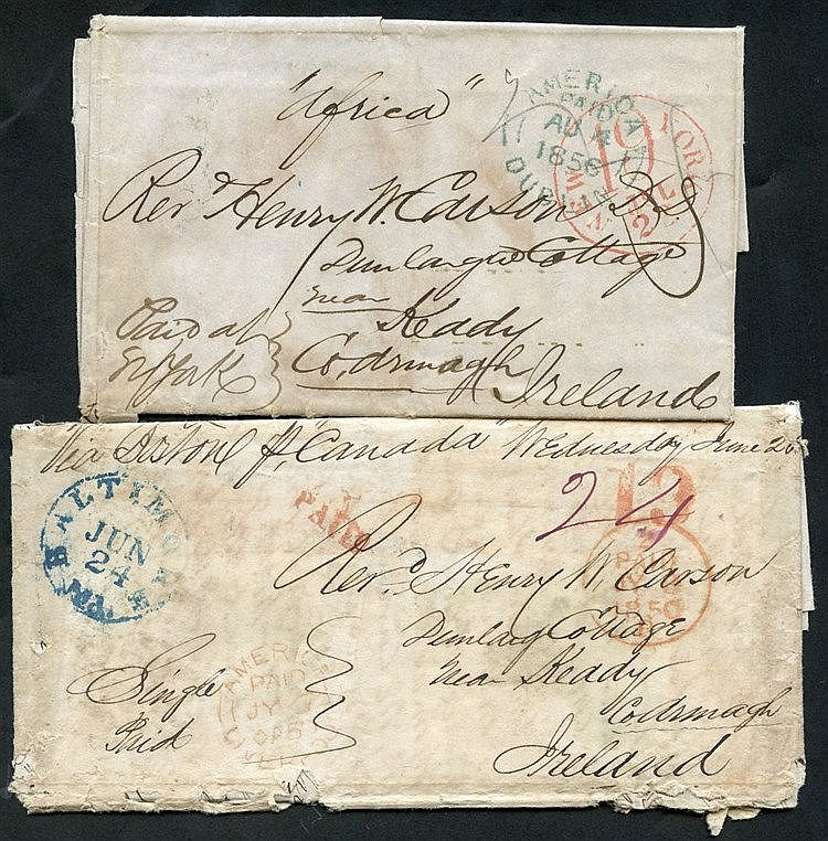 1850 (24 Jun) & 1856 (25 July) two Ship Letters ex the same corre