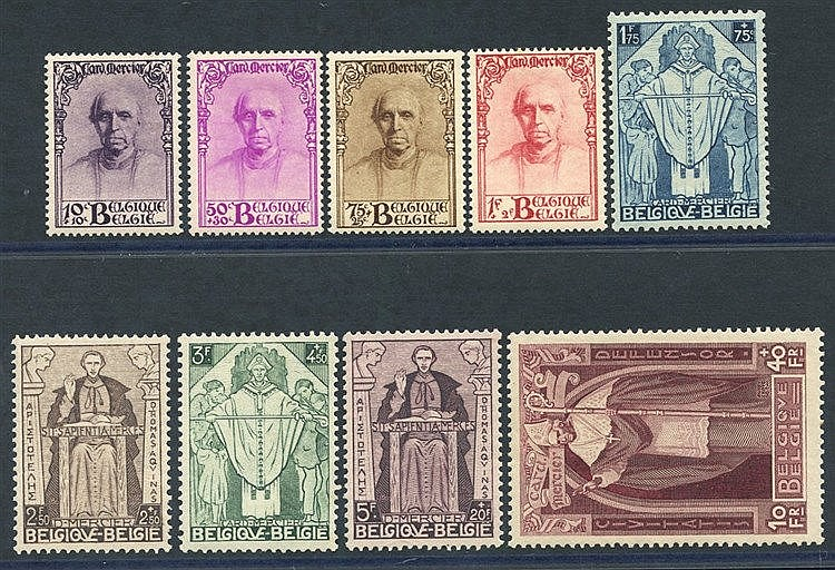 1932 Cardinal Mercier Memorial Fund set, fine M, SG.609/617. (9)