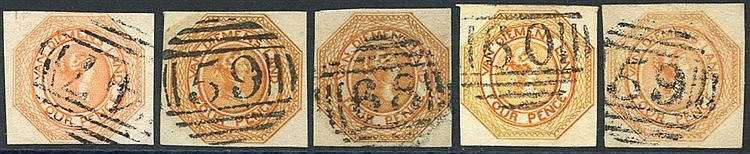 1853 Plate 2 4d orange [22] shaved at top & cancelled '47' at Oat