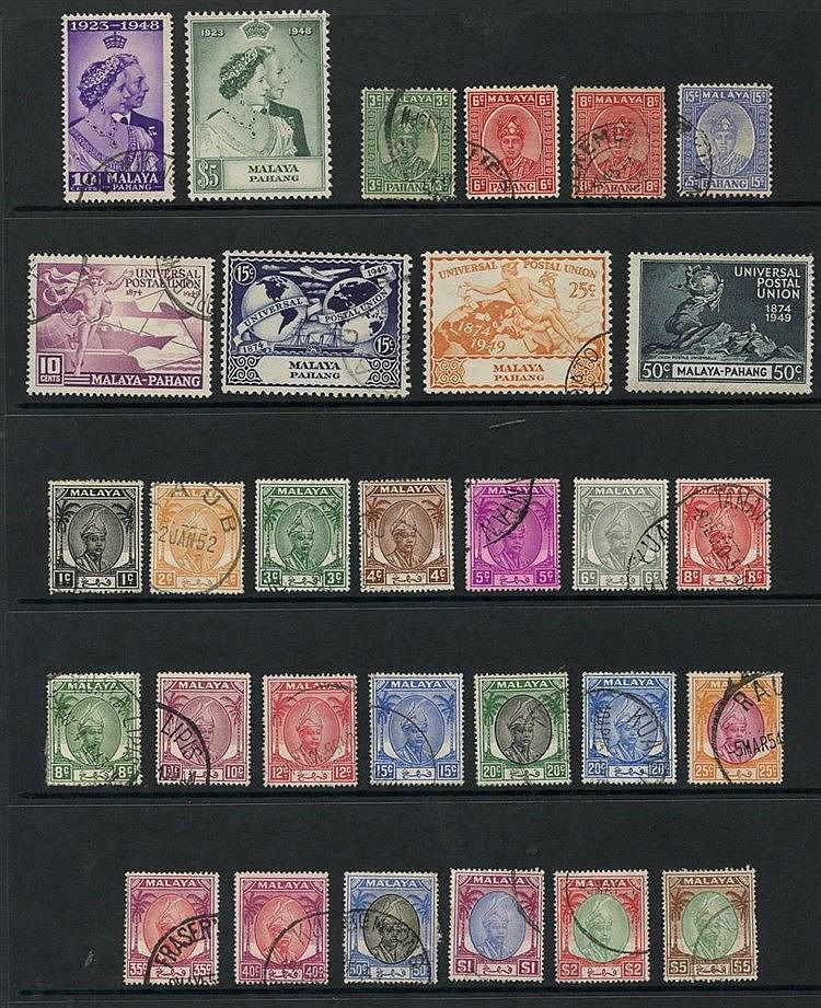 MALAYA - PAHANG 1941-50 complete (30), PENANG 1948-49 complete (2