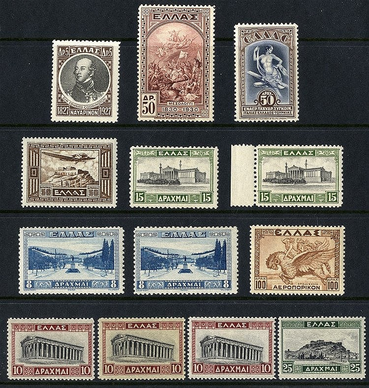 Collection with 1929 Red Cross Charity issue 10l pairs imperf.
