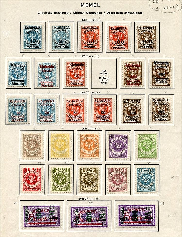 Lithuanian Occupation 1923 - a complete range of M stamps on prin