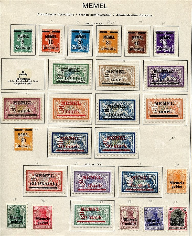 1920-22 collection of 109 different M stamps on printed leaves in