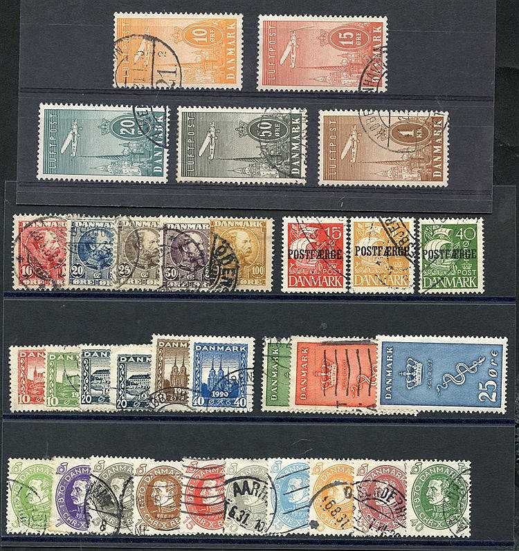 1904-05 King Christian X set U, SG.104/8, 1928 Schleswig set U, S