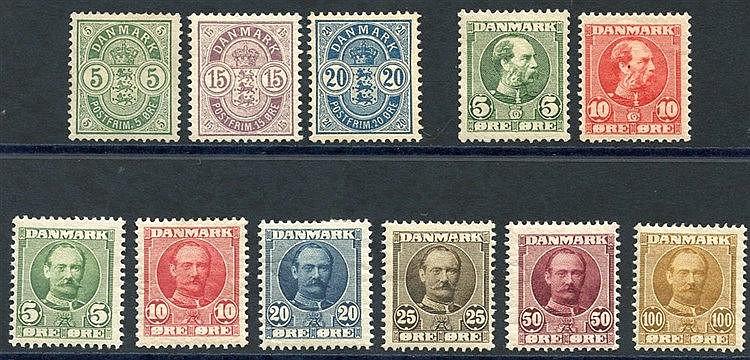 1884-85 5o, 15o, 20o M, 1905-06 5o & 10o M, SG.119/20, 1907-12 5o