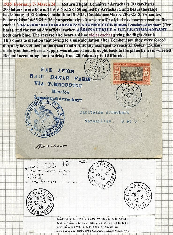 SENEGAL 1925 Feb 7th LEMAITRE and ARRACHART flight cover Dakar -