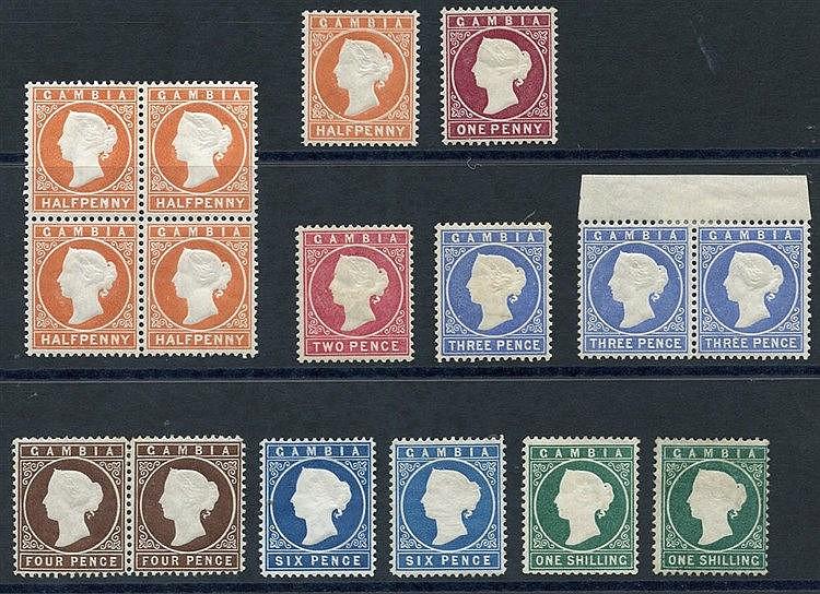 1880-81 ½d (5) incl. a block of four, 1d, 2d, 3d pale dull ultram