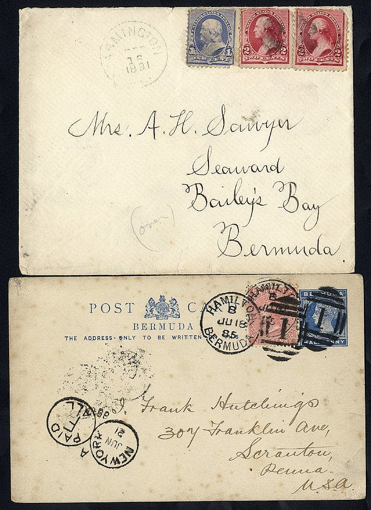 1885-91 ½d blue postal stationery card uprated 1d rose to USA wit