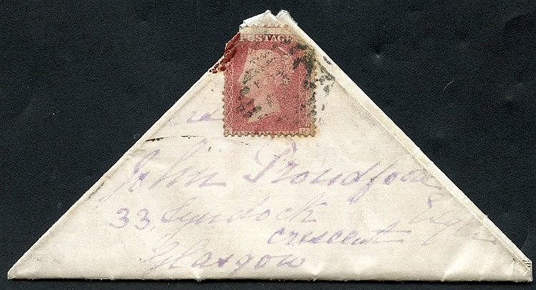 1872 1d red Pl.135, affixed to a triangular entire to Glasgow fro