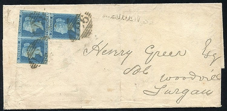 1845 cover from Dublin to Lurgan, franked 2d PL.3 GH, GI & HI (ir