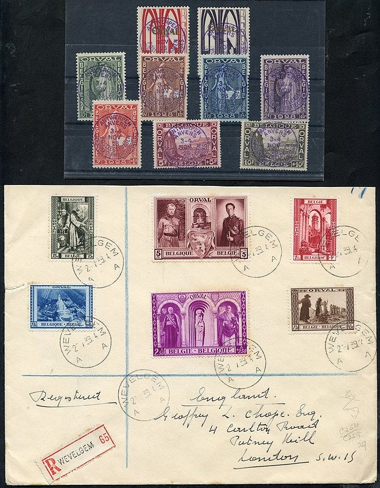 1928 Orval Abbey set, superb used each with Antwerpen Anvers c.d.