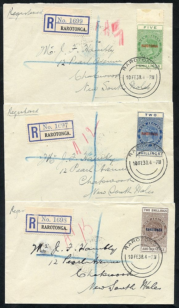 1938 trio of reg covers with 1921-23 NZ postal fiscal vals 2s, 2/