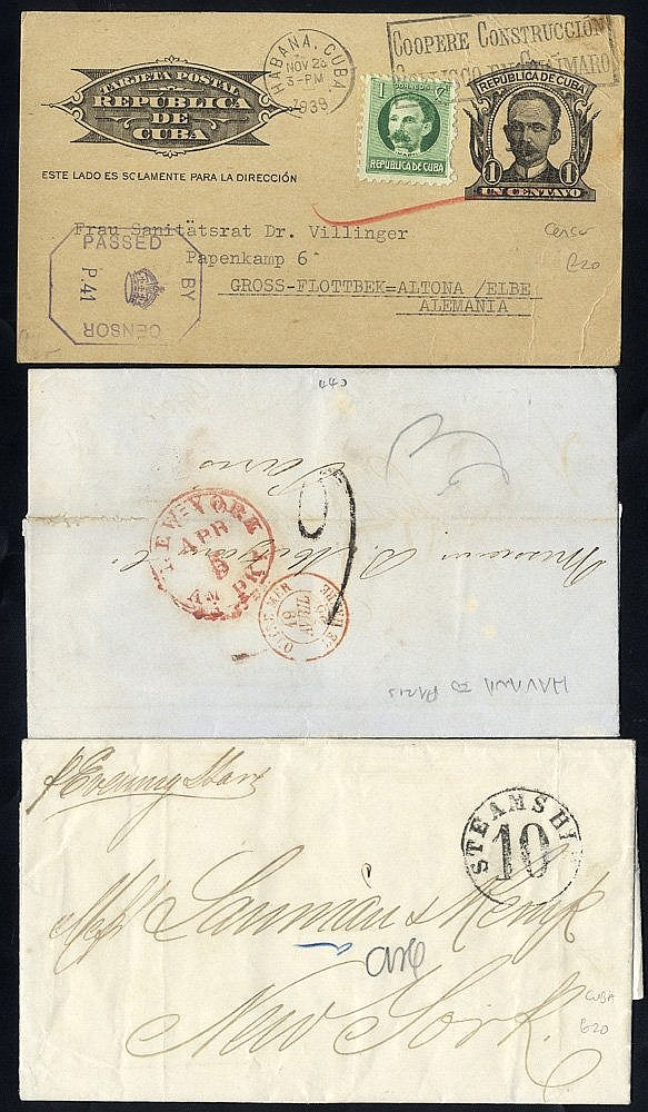 1862-64 pair of stampless E's to USA with STEAMSHIP/10 h/stamp, 1