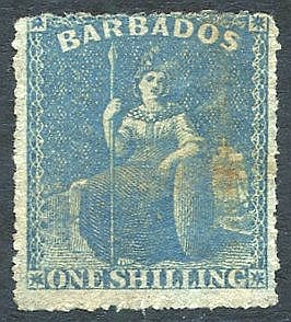 1861-70 no wmk, rough Perf 14 to 16 1s blue - error of colour wit