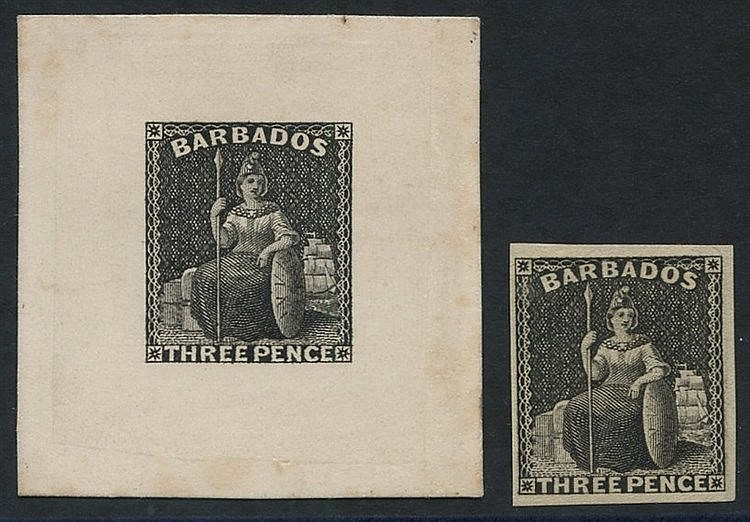 1873 (June) 3d die proof in black on India paper affixed to card