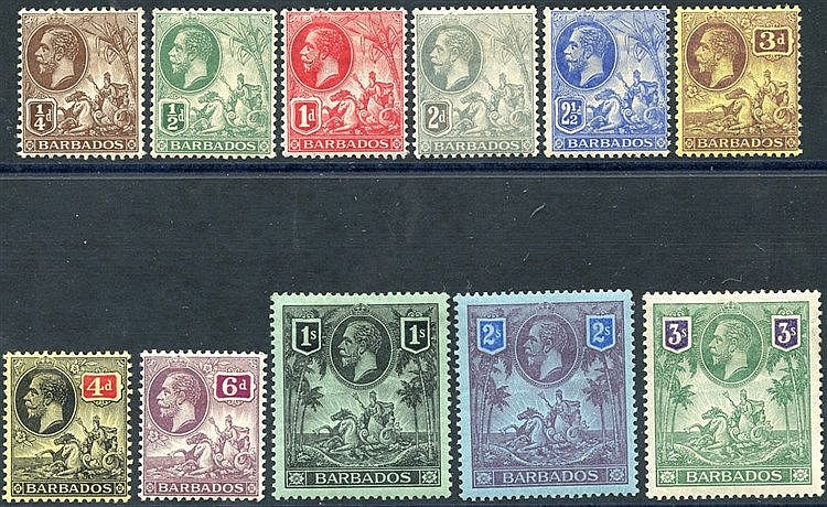 1912-16 MCCA set M (¼d missing perf at top), SG.170/180 (11) Cat.