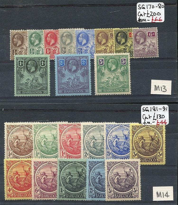 1912 MCCA set & 1916-19 MCCA set M SG.170/80 & 181/191. (22) Cat.