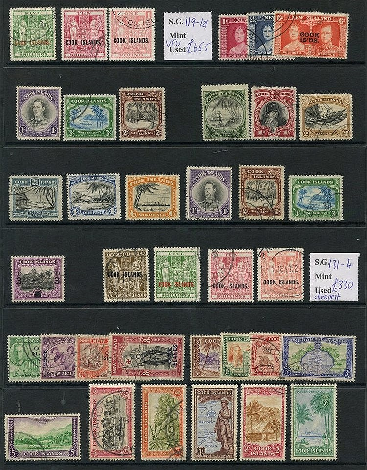 COOK ISLANDS 1937-49 complete incl. scarce Arms. (37) Cat. £1260