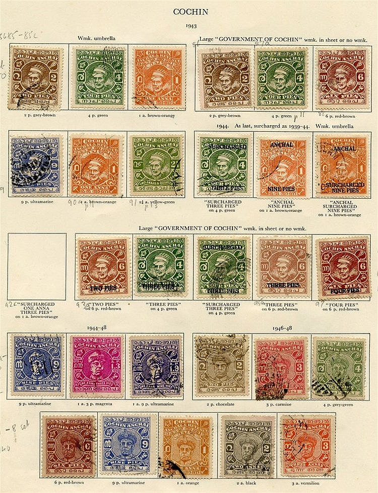 CHARKARI 1940-43 1p violet, ½a brown, ½a black, ½a red, 1a chocol