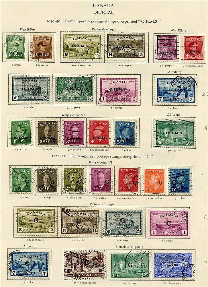 CANADA 1937-51 complete incl. Officials, some faults or Av exampl