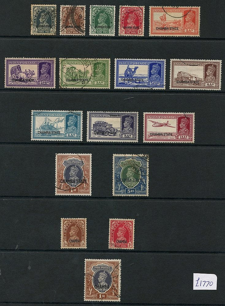 CHAMBA 1938-43 collection incl. 1938 to 1r, 5r (crayon marks), 19
