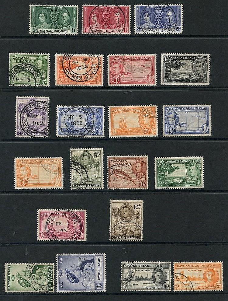 CAYMAN ISLANDS 1937-50 complete (38), CEYLON 1937-52 complete (45