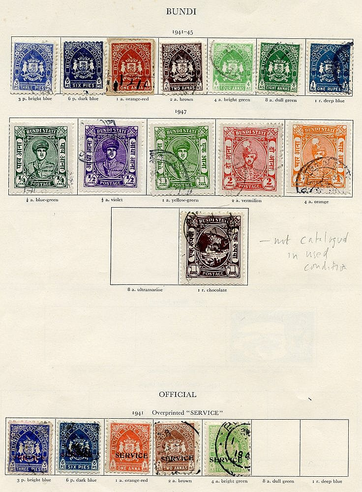 BUNDI 1941-44 set, 1947 to 4a + 1r, Officials 1945 set to 4a (Cat