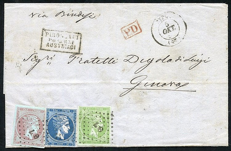 1862-67 Large Hermes 2nd Athens 5L green on greenish, 20L blue