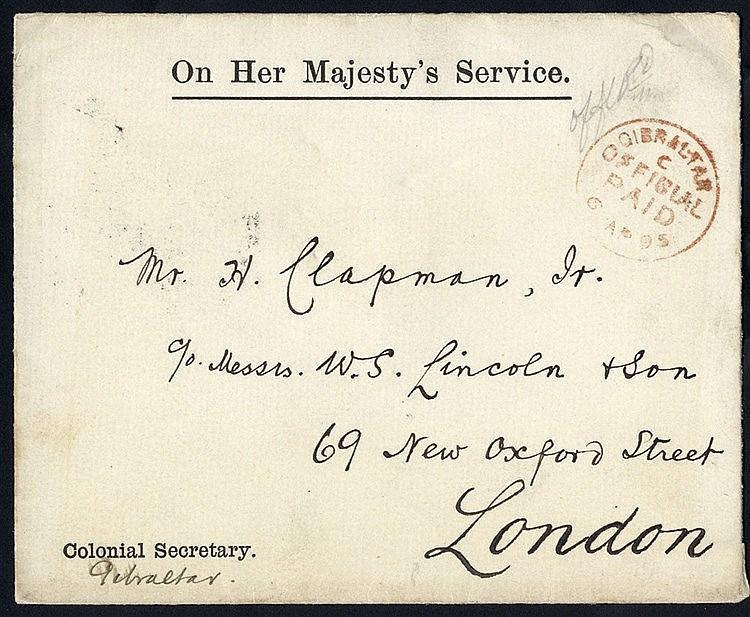 1895 printed Colonial Secretary GIB, OHMS envelope sent c/o W.S L