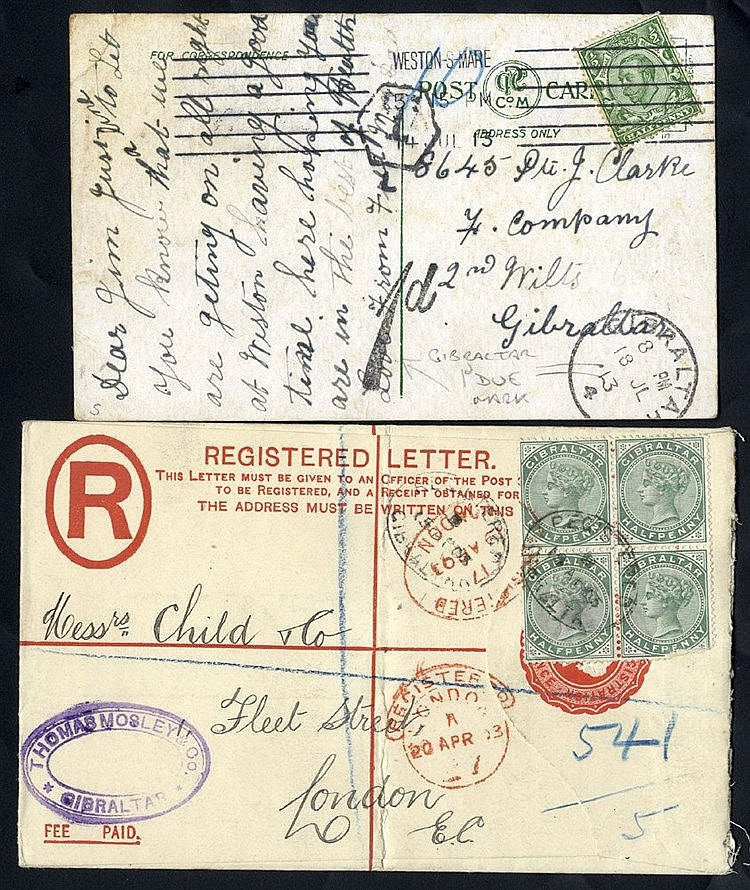1903 QV 2d reg envelope, QV ½d block of four added (small fault o