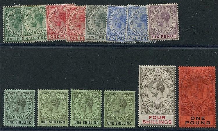 1912-24 MCCA ½d (2), 1d (2), 2d, 2½d (2), 6d, 1s (4), 4s & £1 - a
