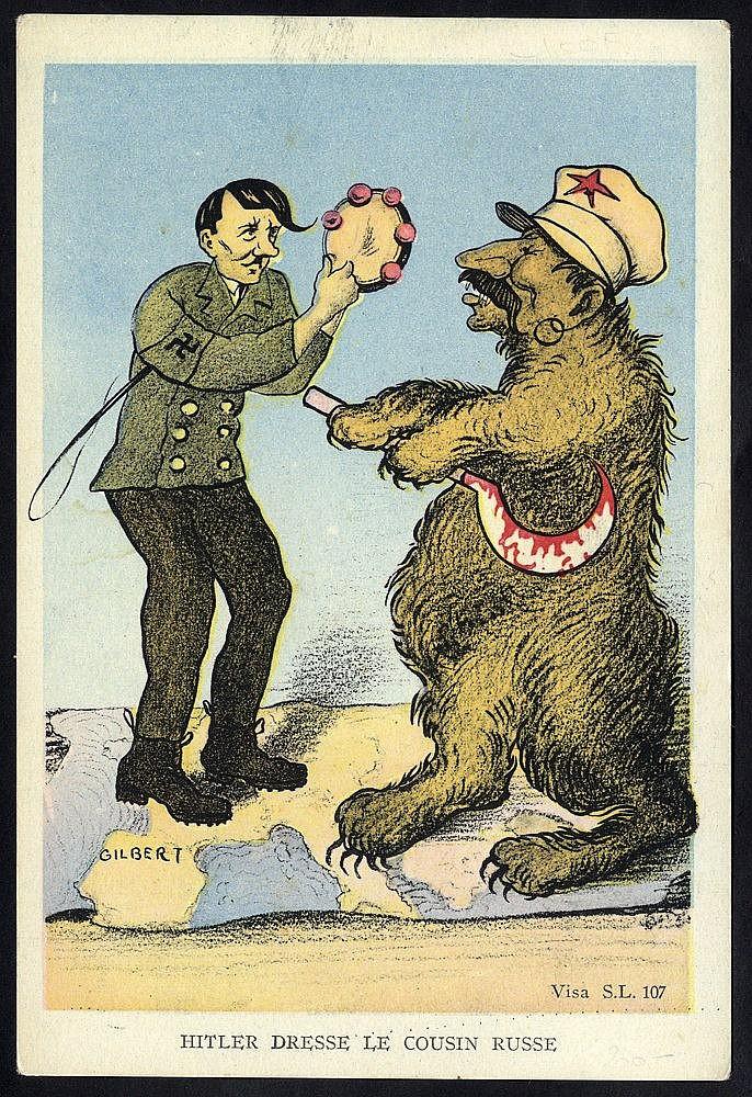 WWII propaganda card in colour entitled Hitler Dresse Le Cousin R