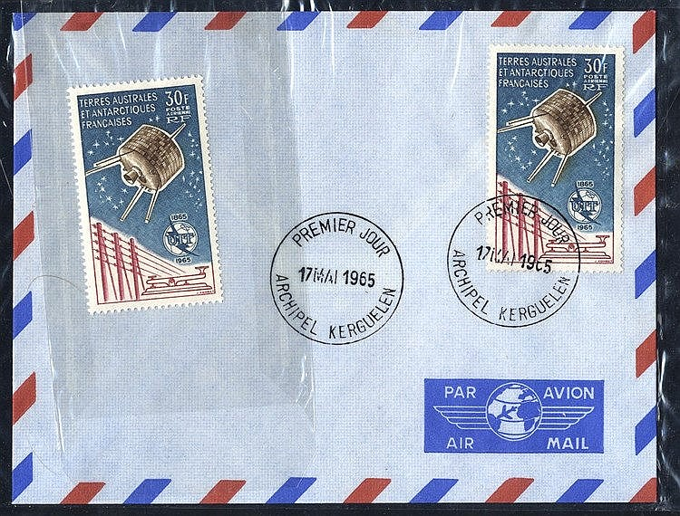 FRENCH SOUTHERN & ANTARCTIC TERRITORIES 1965 Air 30f Syncom Satel