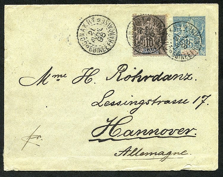 GUINEE 1896 postal stationery env 15c blue upgraded with 10c blac