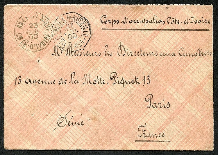 IVORY COAST 1900 stampless Military mail env addressed to Paris,