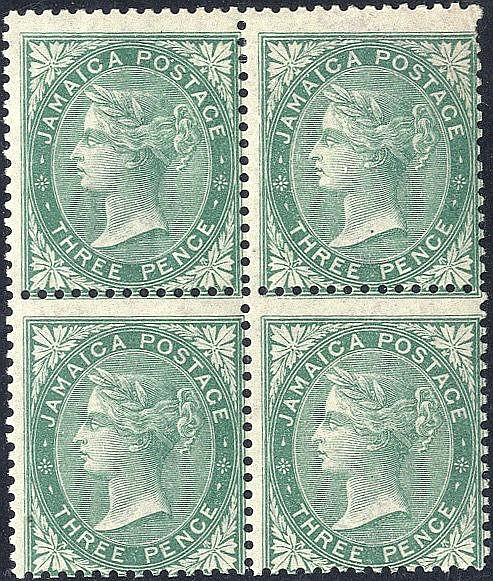1860-70 3d green, fresh M block of four, centred low to right, a