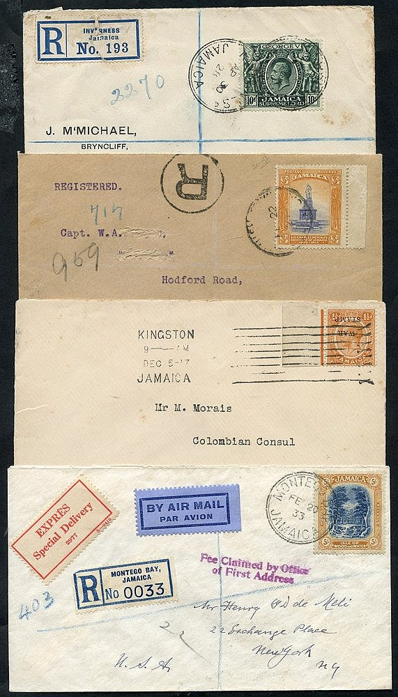 KEVII-KGV selection of covers incl. 1917 War Tax 11/2d with overp