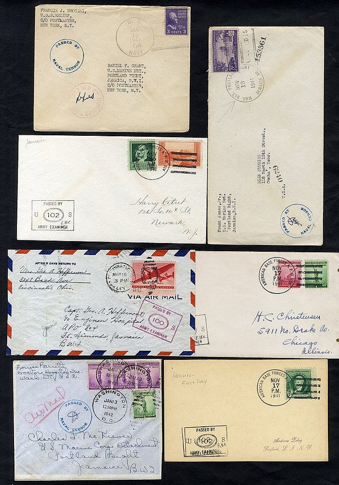 WWII USA franked covers from US Marine Dept - Portland Bight with