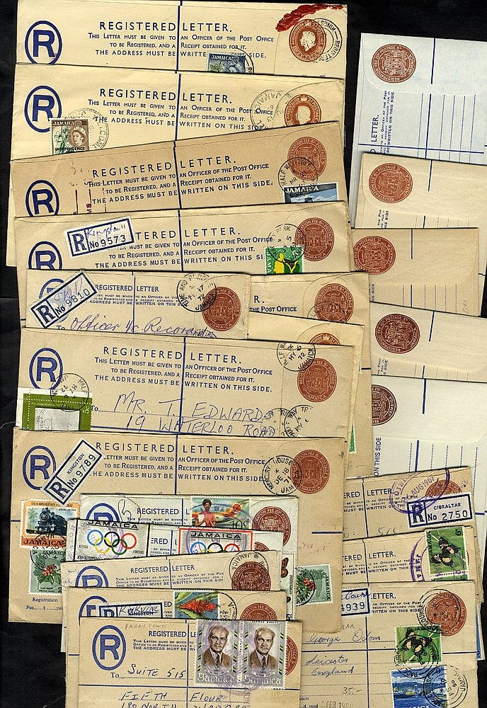 1960-77 circa range of registered postal stationery envelopes unu