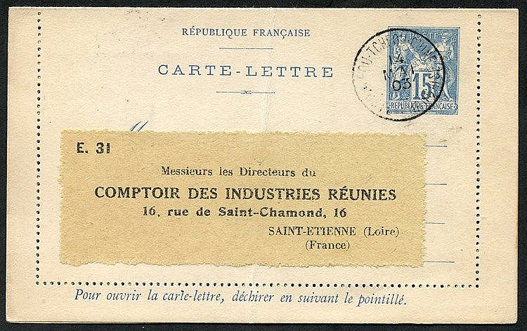 FRENCH CHINA 1903 France Type Sage postal stationery letter card