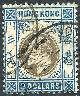 1905 MCCA $3 slate & dull blue VFU, SG.88. Cat. £350
