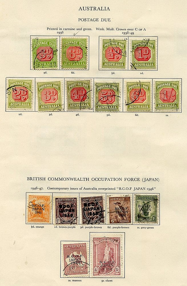AUSTRALIA 1936-51 complete except for SG.212 incl. B.C.O.F set, m