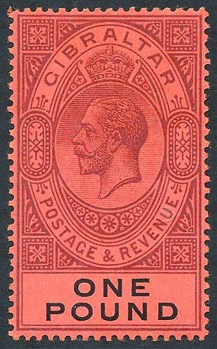1912-24 £1 dull purple & black/red fresh M, SG.85. (1) Cat. £140