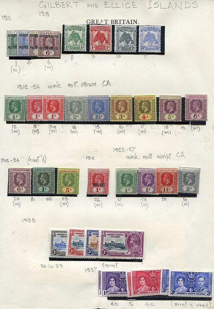 1911-72 M collection on leaves, noted KGV 1912 to 5s M, KGVI set